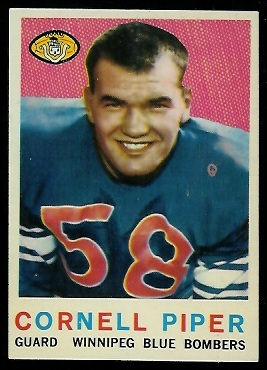 Cornel Piper 1959 Topps CFL football card