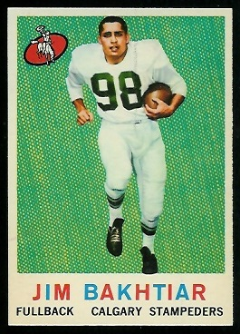 Jim Bakhtiar 1959 Topps CFL football card