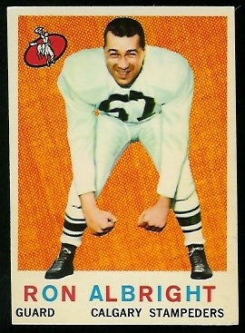 Ron Allbright 1959 Topps CFL football card