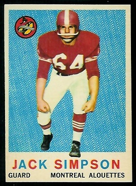 Jack Simpson 1959 Topps CFL football card