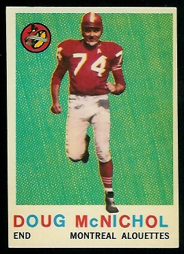 Doug McNichol 1959 Topps CFL football card