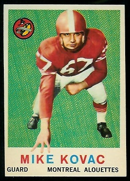 Mike Kovac 1959 Topps CFL football card