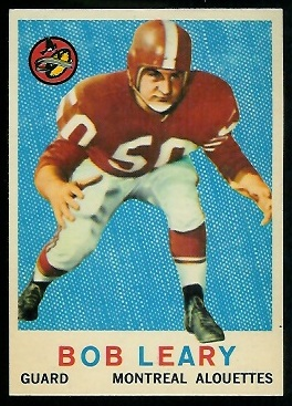 Bob Geary 1959 Topps CFL football card