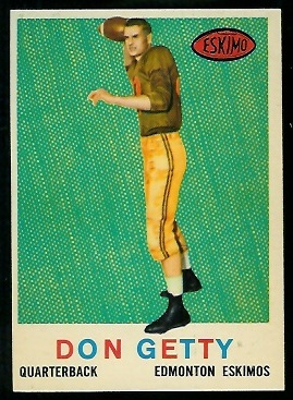 Don Getty 1959 Topps CFL football card