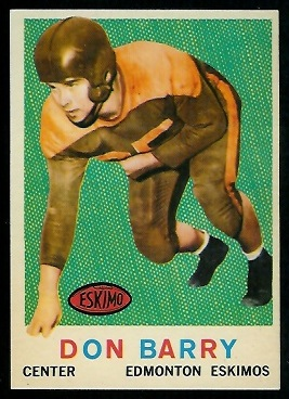 Don Barry 1959 Topps CFL football card