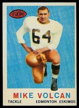 Mike Volcan 1959 Topps CFL football card