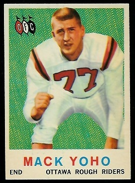 Mack Yoho 1959 Topps CFL football card