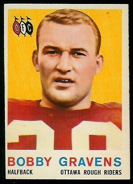 Bobby Cravens 1959 Topps CFL football card