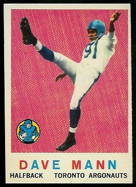 Dave Mann 1959 Topps CFL football card