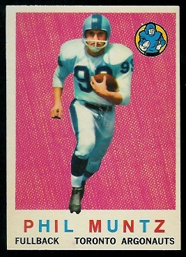 Phil Muntz 1959 Topps CFL football card