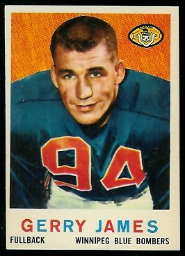 Gerry James 1959 Topps CFL football card