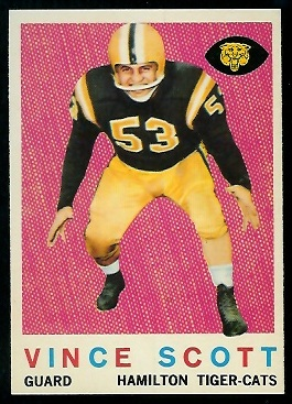 Vince Scott 1959 Topps CFL football card