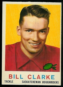 Bill Clarke 1959 Topps CFL football card
