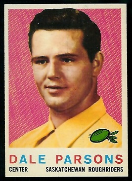 Dale Parsons 1959 Topps CFL football card