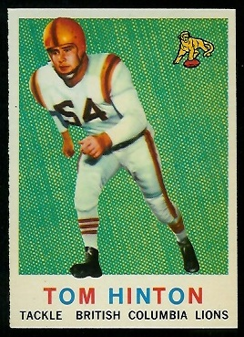 Tom Hinton 1959 Topps CFL football card
