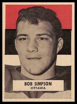 Bob Simpson 1959 Wheaties CFL football card