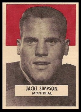 Jack Simpson 1959 Wheaties CFL football card