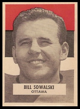 Bill Sowalski 1959 Wheaties CFL football card