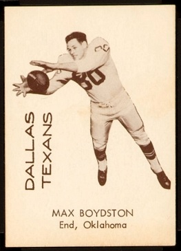 Max Boydston 1960 7-Eleven Texans football card