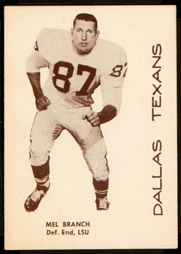 Mel Branch 1960 7-Eleven Texans football card