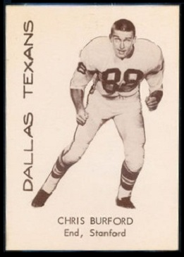 Chris Burford 1960 7-Eleven Texans football card