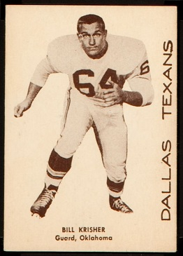 Bill Krisher 1960 7-Eleven Texans football card