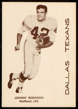 Johnny Robinson 1960 7-Eleven Texans football card