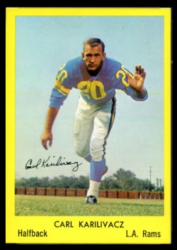 Carl Karilivacz 1960 Bell Brand Rams football card