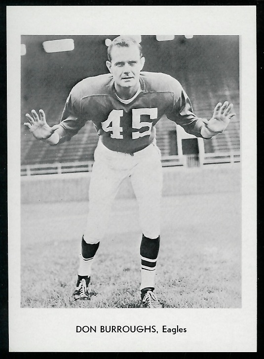 Don Burroughs 1960 Eagles Team Issue football card