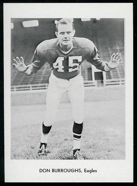 Don Burroughs 1960 Eagles Team Issue football card