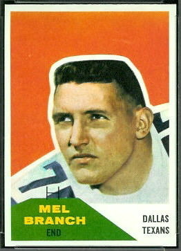 Mel Branch 1960 Fleer football card