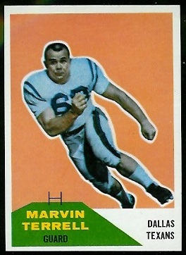 Marvin Terrell 1960 Fleer football card