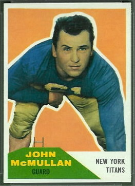 John McMullan 1960 Fleer football card