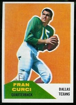Fran Curci 1960 Fleer football card