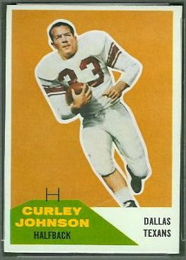 Curley Johnson 1960 Fleer football card