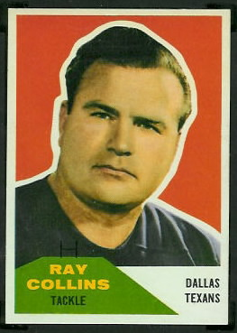Ray Collins 1960 Fleer football card