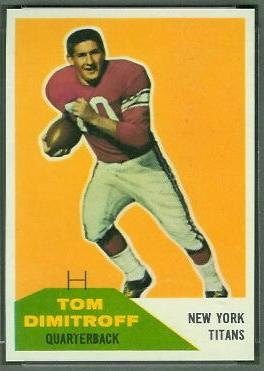Tom Dimitroff 1960 Fleer football card
