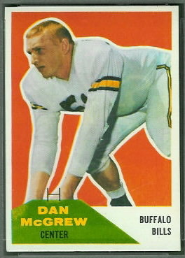 Dan McGrew 1960 Fleer football card
