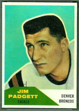 Jim Padgett 1960 Fleer football card