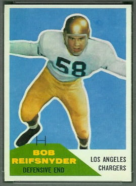 Bob Reifsnyder 1960 Fleer football card