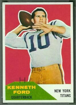 Ken Ford 1960 Fleer football card