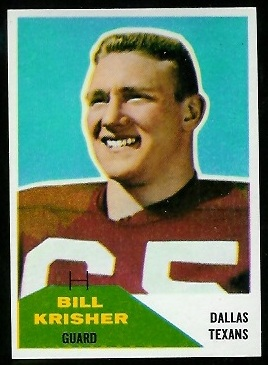 Bill Krisher 1960 Fleer football card