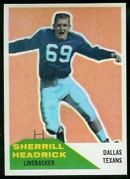 Sherrill Headrick 1960 Fleer football card