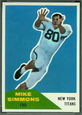 Mike Simmons 1960 Fleer football card
