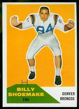 Billy Shoemake 1960 Fleer football card