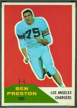 Ben Preston 1960 Fleer football card