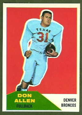 Don Allen 1960 Fleer football card