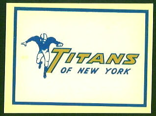 Titans Logo 1960 Fleer AFL Team Decals football card