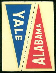 Alabama - Yale 1960 Fleer College Pennant Decals football card