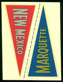Marquette - New Mexico 1960 Fleer College Pennant Decals football card